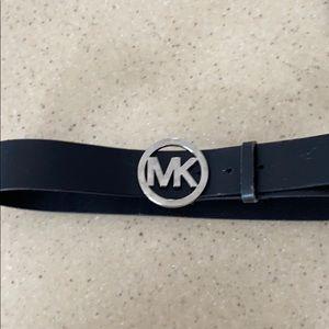 Michael Kors ladies black belt with silver buckle